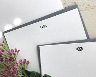 Hello Assorted Letterpress Flat Note Cards (Set of 9)