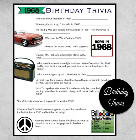 1968 Birthday Trivia Game Birthday Party Trivia Instant