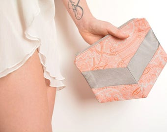 Grey orange silk clutch bag chevron shape