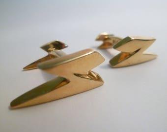 Handmade Brass Lightning Bolt Cuff links - Shirt Studs