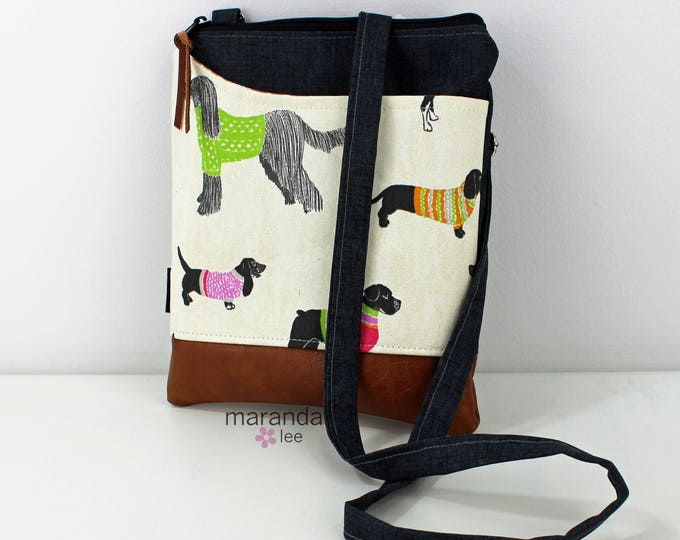 ZOE Messenger Cross Body Sling Bag -Pups with Granite Denim READY to SHIP