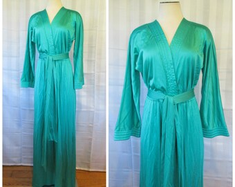 Vintage Jumpsuit Vanity Fair Loungewear 1970s Hostess Gown Palazzo Pants Turquoise Green 36 38 M Teal