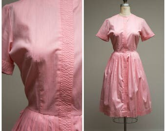 Vintage 1950s Dress • Kissed Me • Pink Cotton 50s Shirtwaist Day Dress Size Medium