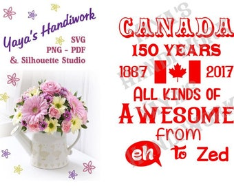SVG - Canada 150 years ... - Digital file - INSTANT DOWNLOAD - svg, Silhouette studio,  png & pdf