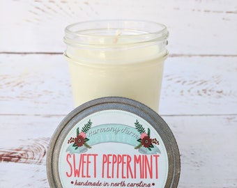 Sweet Peppermint Soy Wax Candle in 8 oz. Jelly Jar - Peppermint, Mint, Christmas, Winter, Holiday, Housewarming, Home, Hostess Gift