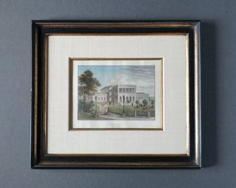 Framed antique engraving, Hamburg, Homburg Germany, colored antique engraving, Classical architecture print