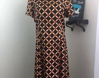 Lattice Enjoy the Day // 60s Brown and Orange Mod Ruffled Day Dress Plus Volup