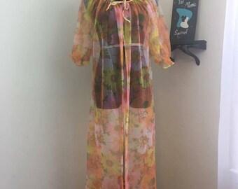 In The Garden // 1960s Floral Sheer Open Robe Lingerie