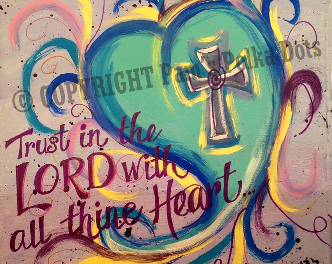 Handmade Original Painting SWIRLY TAIL HEART Proverbs 3:5 Scripture Wall Art 12x12 Acrylic *Frame Ready* Autographed