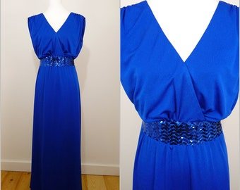 VINTAGE 1970s Retro Electric Blue Sequin Evening Cocktail Goddess Party Maxi Dress UK 14 Fr 42 / Grecian / Elegant / Glitz