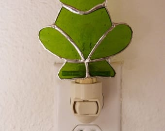 Green Frog Night Light, Real Stained Glass, Wall Plug In, On Off Switch