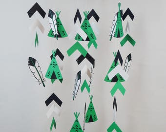 Tepee Nursery Baby Mobile, Tribal Mobile with Feathers