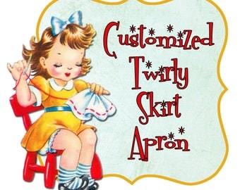 CUSTOMIZED Twirly Skirt Apron (Circle Skirt Apron) made-to-order in customer-chosen fabrics, sweetheart bib, flirty pin up apron, ONE SIZE