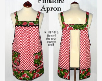 RETRO APRON, Watermelon Picnic Pinafore, no tie apron, loose-fitting smock, comfortable all day apron, made to order XS thru Plus sizes