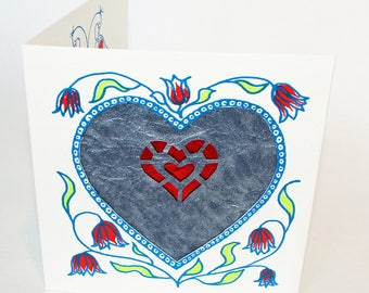 Valentines Card, handprinted with hearts, love birds and metallic blue and red decorative paper