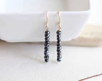 Black Spinel Earrings, Dainty Earrings, Lightweight Earrings, Gold Gemstone Earrings, Black Earrings Gold Filled Long Earrings Birthday Gift