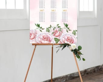 Reception Seating Chart, Wedding Reception Sign, Day Of Stationery - Rose Garden (Style 0002)
