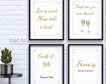Wedding/Reception Signs (4 Piece Print Collection) - Gold Scroll Frame