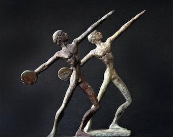 Metal Art Sculpture, Discus Thrower Bronze Figurine, Discobolus Greek Athlete Statue, Ancient Greece Olympic Games, Museum Quality Art