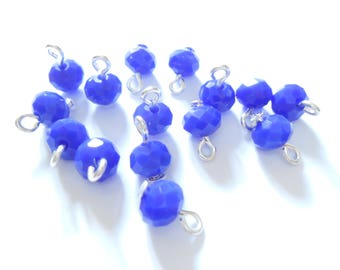Royal Blue Faceted Opaque RondelleDangle Beads