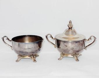International Silver, Wm. Rogers Silver Plate Creamer and Lidded Sugar