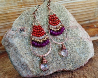 Mainland. Artisan Copper Earrings with Wire Wrapped Rust Jasper, Peach Moonstone, Purple Jade, and Mystic Pink Quartz Gemstones-Gypsy Boho
