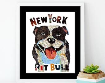 Map dog Love Pit bull terrier dog/ PIT BULL Art Print/PITBULL Art/pitbull print