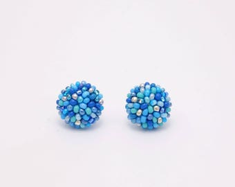Blue beads mix studs earrings -15 mm/ charming earring with CLIP on or SILVER post - for pierced or non piercer earlobe