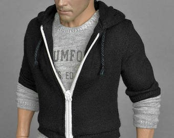 1/6th scale black zip hoodie for: regular size collectible action figures and male fashion dolls
