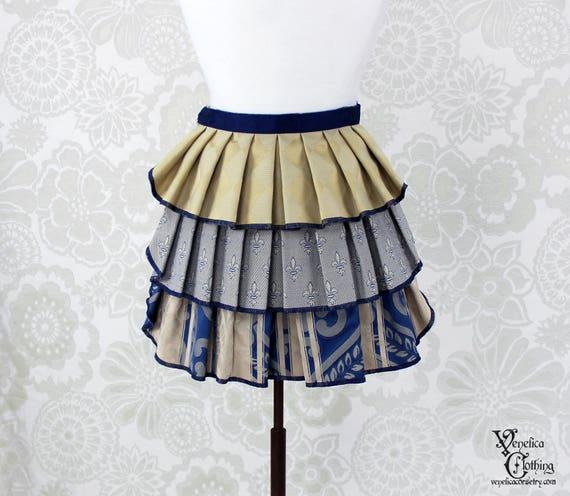 "Steampunk Ruffle Bustle Overskirt - 3 Layer, Sz. XS - Blue & Cream - Best Fits up to 34"" Waist/Upper Hip -- Ready to Ship"
