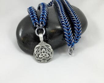 Celtic Necklace, Chainmaille Jewelry, Men's Chain Necklace, Aluminum Jewelry,, Box Chain Necklace, Pendant Necklace, Gifts for Him,
