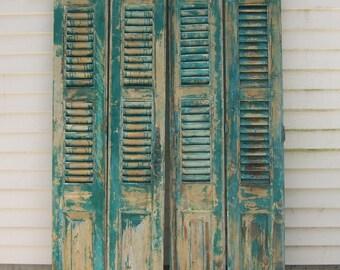 vintage wood shutters,tall mediterranean shutters,panels,chippy aqua bluish green paint,reclaimed salvage window shutters,architectural art2