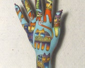 RESERVED for J C ~ Laurel Burch Colorful Cats CLASSIC HAND-Stand ~ Ready to Ship