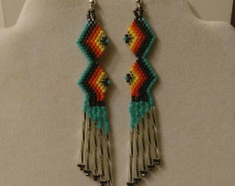Native American Style Beaded Zig Zag Earring in Turquoise, Great Fun to Wear Geometric, Southwestern, Boho, Brick Stitch, Peyote, Great Gift