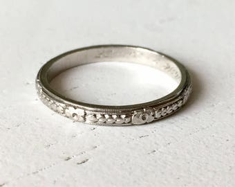 Gorgeous Carved Platinum Wedding Band - Size 5