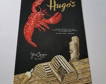 Vintage Hugos menu / seafood restaurant / collectible ephemera / Cohasset Harbor MA Massachusetts / souvenir advertising ad / John Carzis