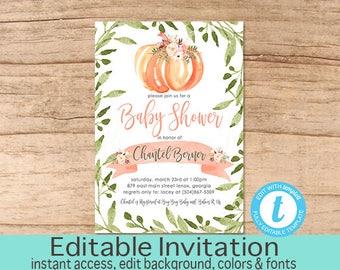 Fall Baby Shower Invitation, Greenery, Pumpkin Shower Invitation, Floral, Baby Girl Shower invite, Boho Fall, EDITABLE, Instant Download
