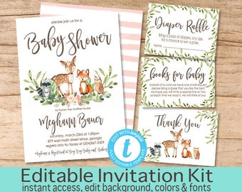 Floral Woodland Animal Invitation, Baby Shower Invitation Kit, Editable Baby Shower invitation, Baby Girl Baby Invite, Instant Download
