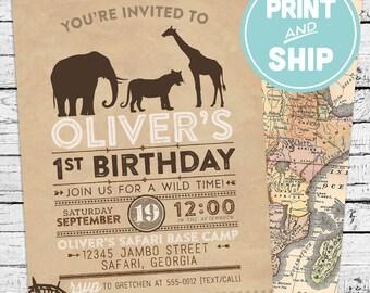 Printed Safari Birthday Invitations and Envelopes - Print and Ship Invitations