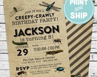 Printed Vintage Bugs Entomology Birthday Invitations and Envelopes - Print and Ship Invitations