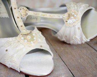 Wedding Shoes, Ivory Wedding Shoes, Vintage Wedding Shoes, Lace Wedding Shoes, Ivory Lace Wedding Shoes, 1920s Wedding, Gatsby Wedding