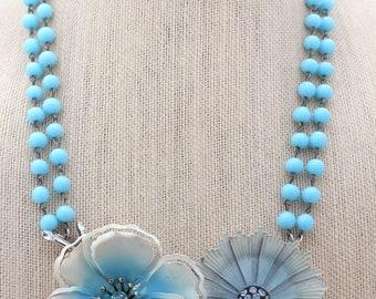 Mod Necklace, Blue Necklace, Collage Necklace, Flower Necklace, Statement Necklace, Upcycled Necklace, Upcycled Jewelry, Recycled Jewelry