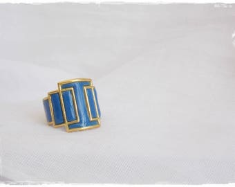 Geometric Brass Ring, Brass Cage Ring, Cut Out Brass Ring, Brass Knuckle Ring, Polymer Clay Ring, Nautical Knuckle Ring, Square Brass Ring