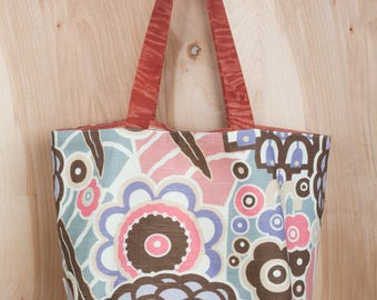 Mod Floral Tote Bag 2- Lavender and Coral Mod Flowers Tote- Cotton Tote- by beckyzimmdesign