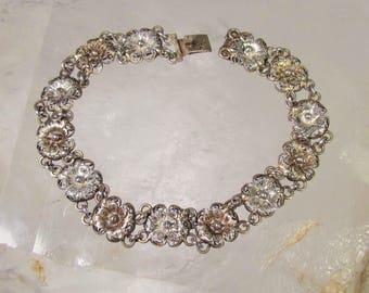 Vintage 800 Silver and Gold-Washed Hidden Clasp Filigree Bracelet
