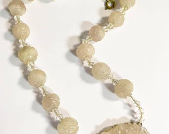 Antique Chinese Carved Rose Quartz Beaded Necklace with Carved Pendant Medallion