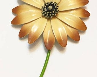Vintage Yellow and Brown Enameled Metal Flower Brooch
