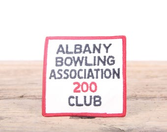 Vintage Bowling Patch / Albany Bowling Association 200 Club Patch / Green Yellow Grunge Patch