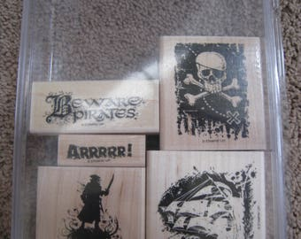 Stampin Up Stamps - Beware Pirates - Retired - Rare