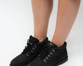 Black Leather Lace Up Ankle Boots Size UK 4.5, US 7, EU 37.5